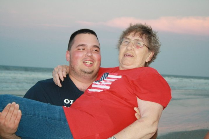 Great Grandma enjoying some Brian attention.